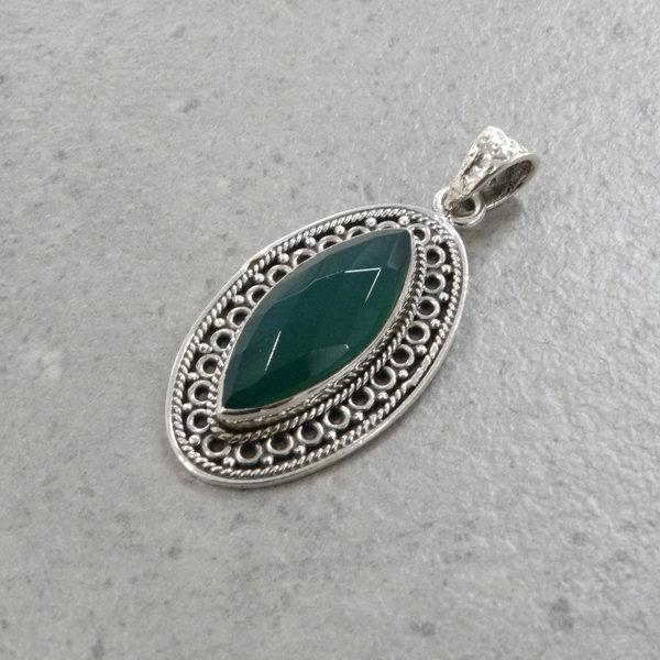 Lima groene onyx kettingbedel - 925 sterling zilver