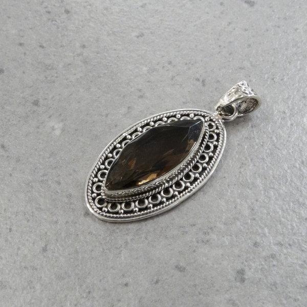 Lima rookkwarts kettingbedel - 925 sterling zilver