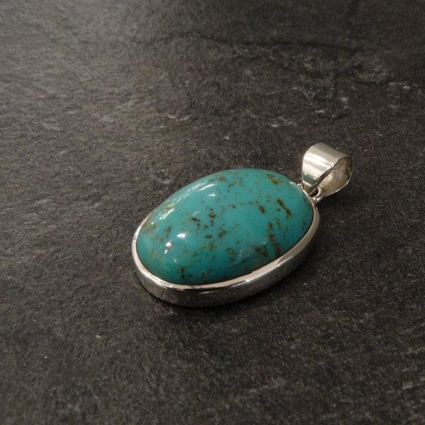 Tibetaanse  turkoois kettingbedel - 925 sterling zilver