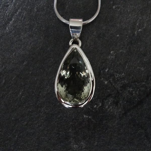 Groene amethist kettingbedel - 925 sterling zilver
