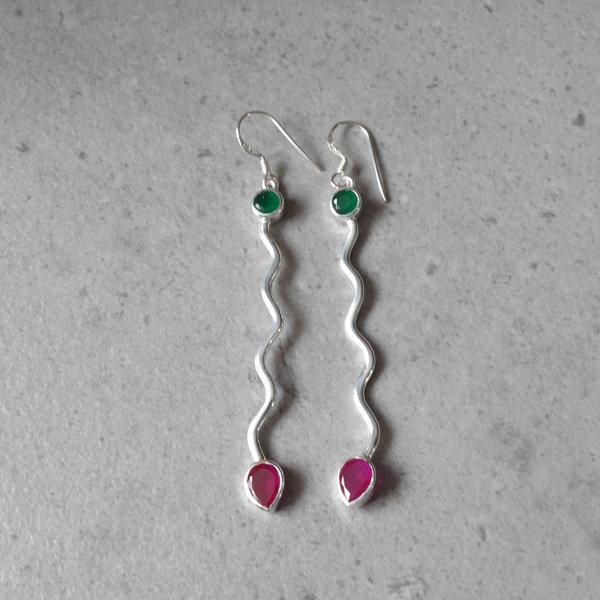 Robijn met Groene Onyx oorbellen - 925 sterling zilver