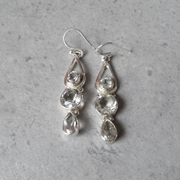 Bergkristal oorbellen -925 sterling zilver