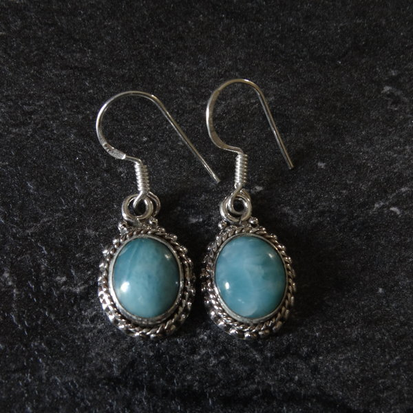 Larimar oorbellen - 925 sterling zilver