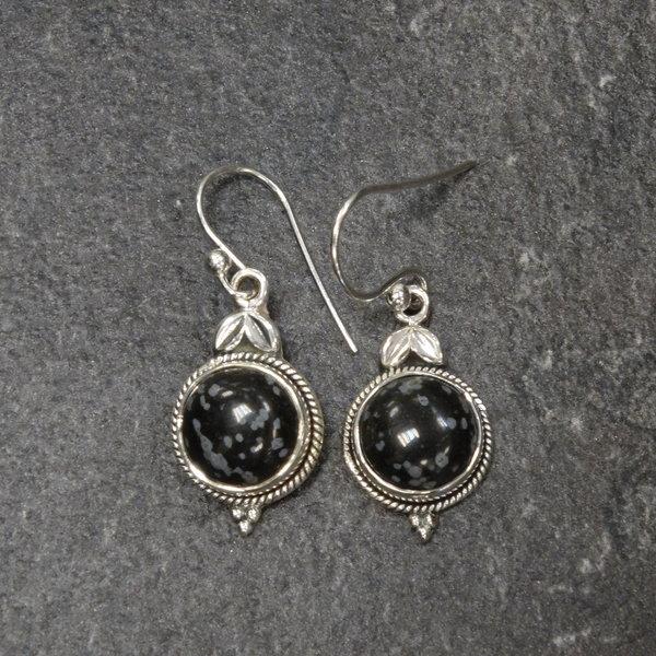 Sneeuwvlok Obsidiaan oorbellen - 925 sterling zilver