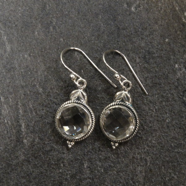 Bergkristal oorbellen - 925 sterling zilver