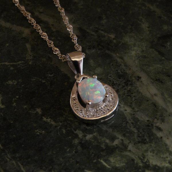 Opaal bedel met zirkonia - 925 sterling zilver