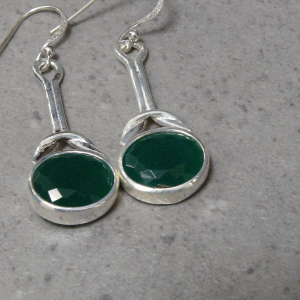 Groene onyx oorbellen - 925 sterling zilver