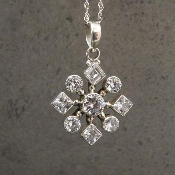 Bergkristal bedel - 925 sterling zilver