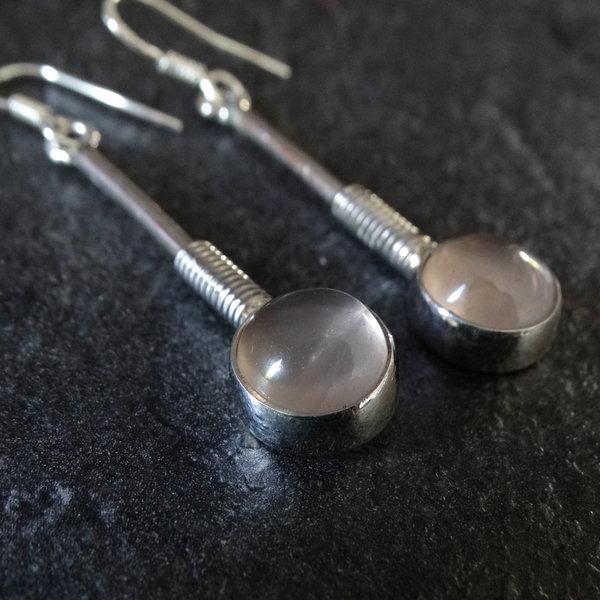 Rozenkwarts oorbellen - 925 sterling zilver