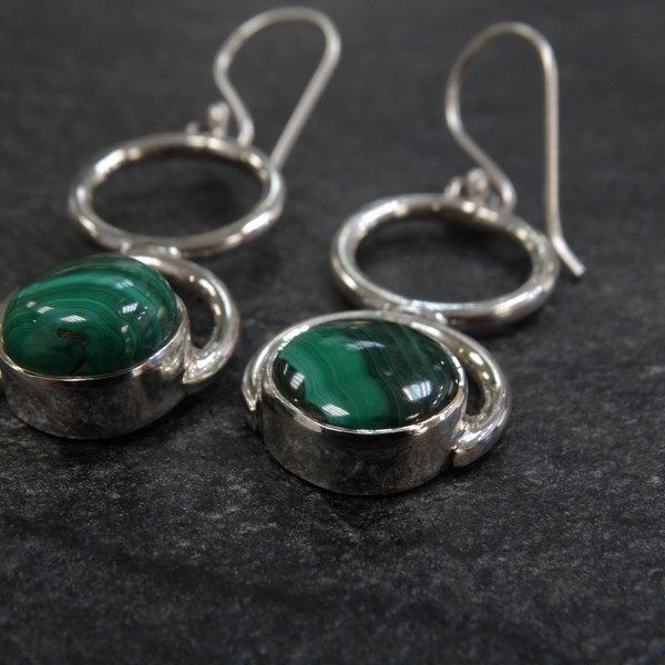 Malachiet oorbellen - 925 sterling zilver