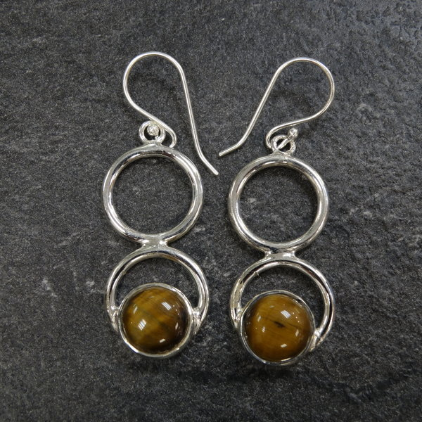 Tijgeroog oorbellen - 925 sterling zilver