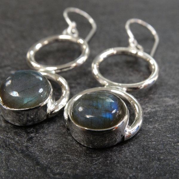 Labradoriet oorbellen - 925 sterling zilver