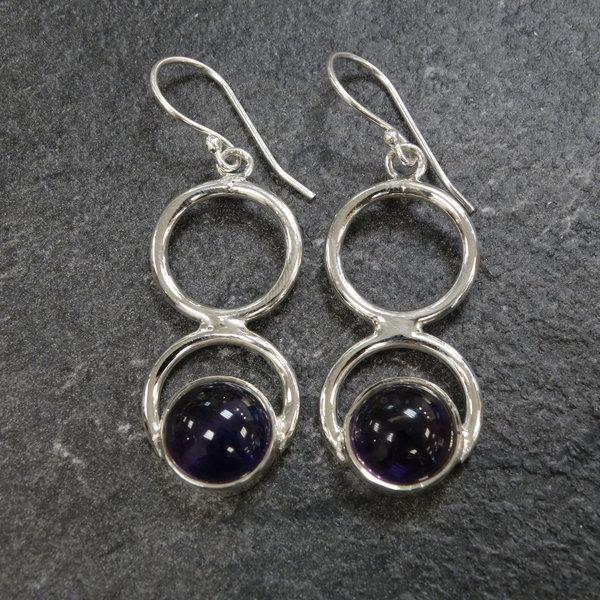 Amethist oorbellen - 925 sterling zilver