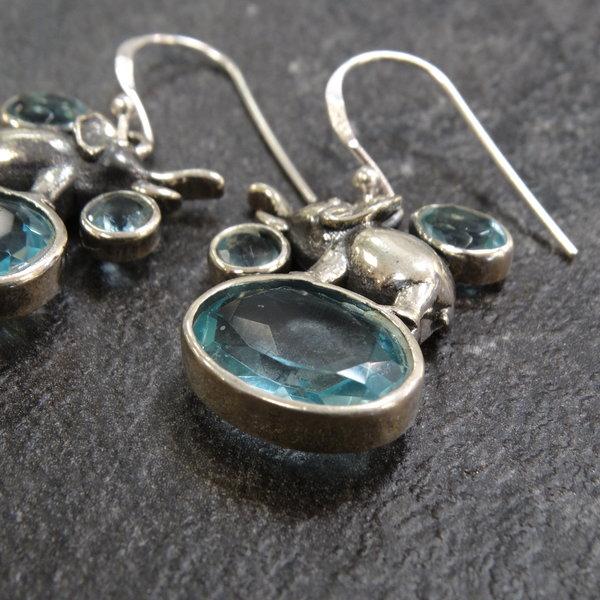 Blauwe topaas oorbellen - 925 sterling zilver