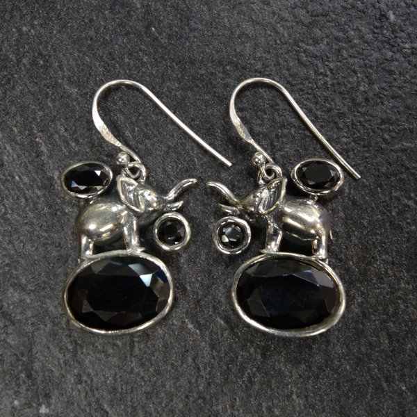 Onyx oorbellen - 925 sterling zilver