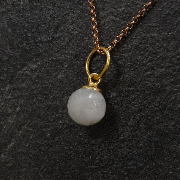 Maansteen bedel - 925 zilver verguld