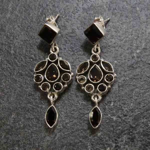 Rookkwarts oorbellen - 925 sterling zilver