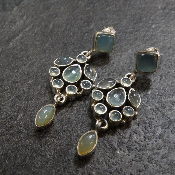 Groene Jade oorbellen - 925 sterling zilver