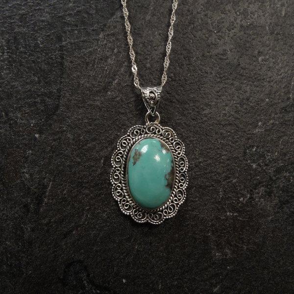 Turkoois bedel - 925 sterling zilver