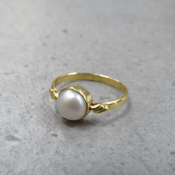 Parelmoer ring - 925 zilver verguld