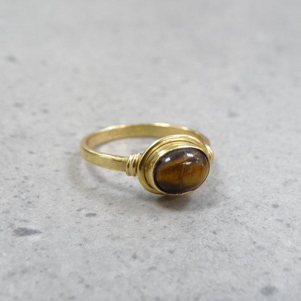 Tijgeroog ring - 925 zilver verguld