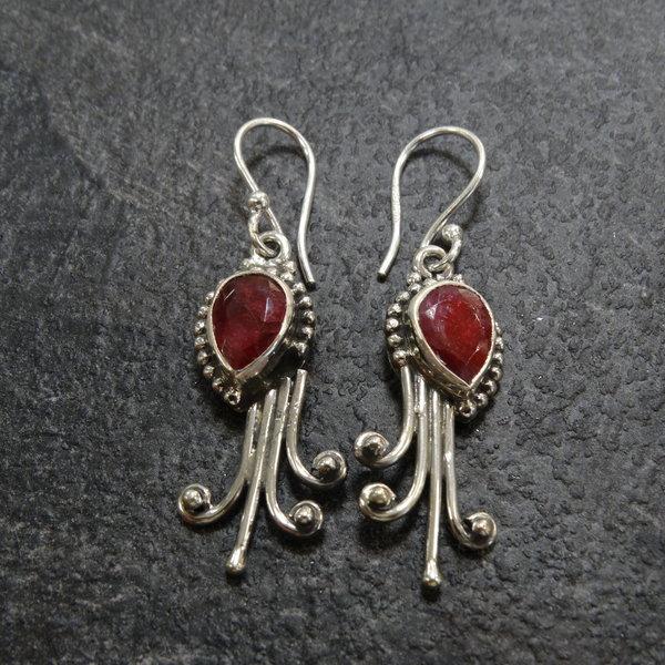Robijn oorbellen - 925 sterling zilver