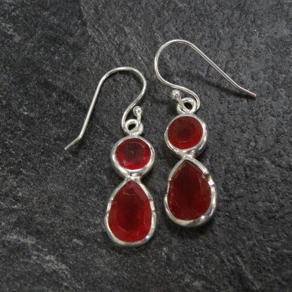Rode Jade oorbellen - 925 sterling zilver
