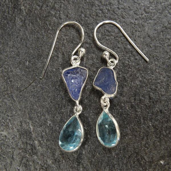 Blauwe Topaas & Tanzaniet oorbellen - 925 sterling zilver