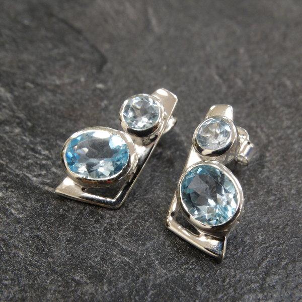 Blauwe Topaas oorstekers - 925 sterling zilver