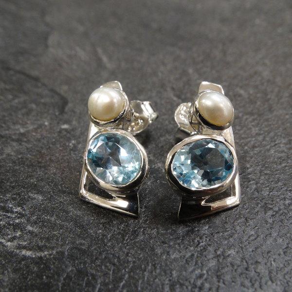 Blauwe Topaas & Parel oorstekers - 925 sterling zilver