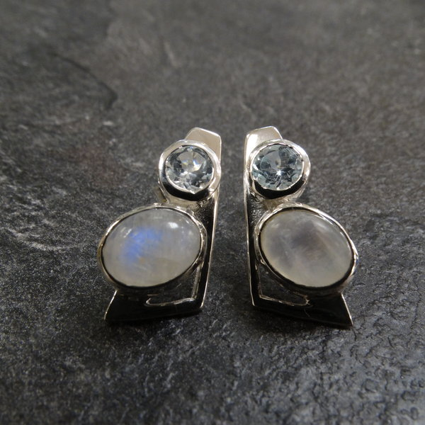 Maansteen & Blauwe Topaas oorstekers - 925 sterling zilver