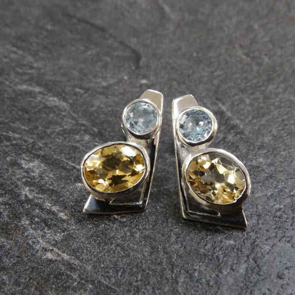 Citrien & Blauwe Topaas oorstekers - 925 sterling zilver