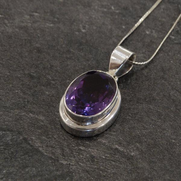 Amethist bedel - 925 sterling zilver