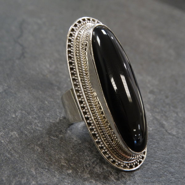 Onyx ring - 925 sterling zilver