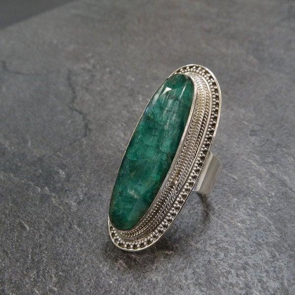 Groene Onyx ring - 925 sterling zilver