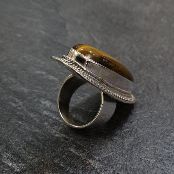 Tijgeroog ring - 925 sterling zilver
