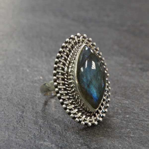 Labradoriet ring - 925 sterling zilver
