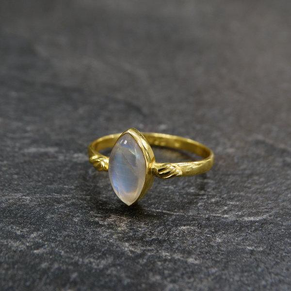 Maansteen ring - 925 zilver verguld