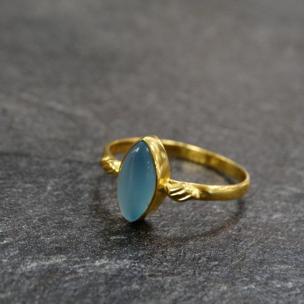 Agaat ring - 925 zilver verguld