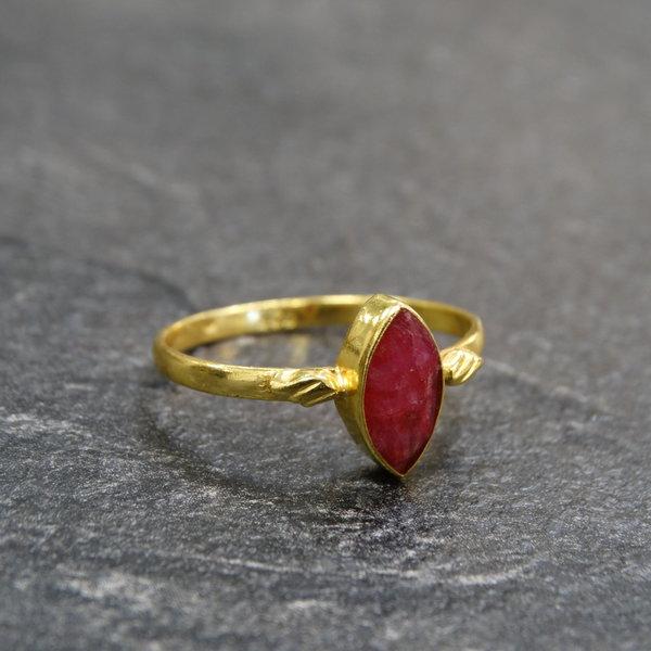 Robijn ring - 925 zilver verguld