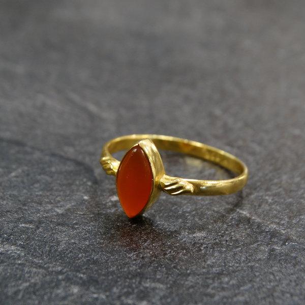Carneool ring - 925 zilver verguld