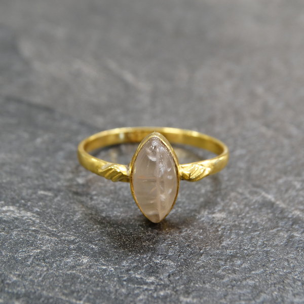 Rozenkwarts ring - 925 zilver verguld
