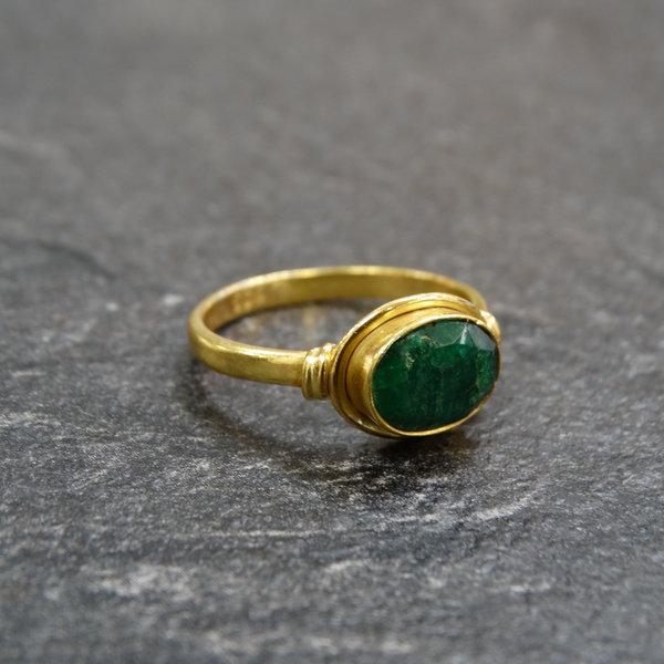 Groene Onyx ring - 925 zilver verguld