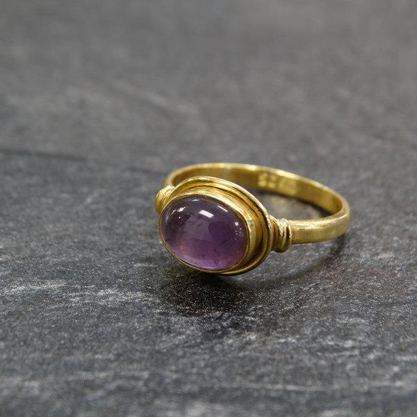 Amethist ring - 925 zilver verguld