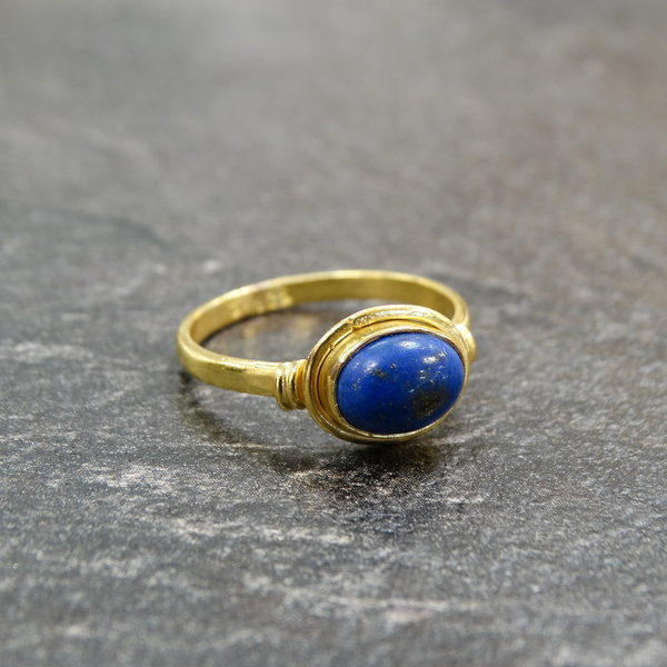 Lapis Lazuli ring - 925 zilver verguld