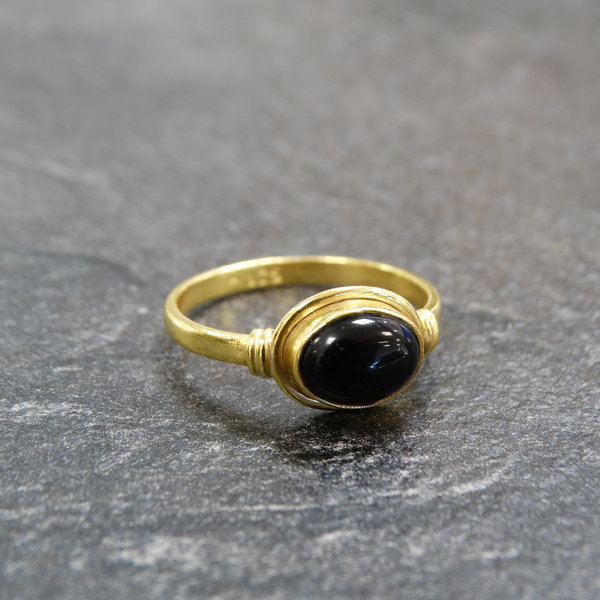 Onyx ring - 925 zilver verguld