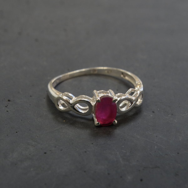 Rode Jade ring - 925 sterling zilver