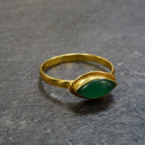 Aventurijn ring - 925 zilver verguld