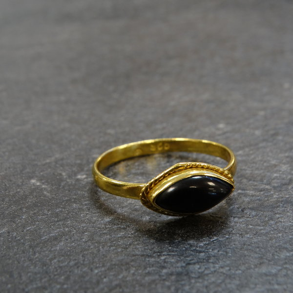 Onyx ring - 925 zilver verguld