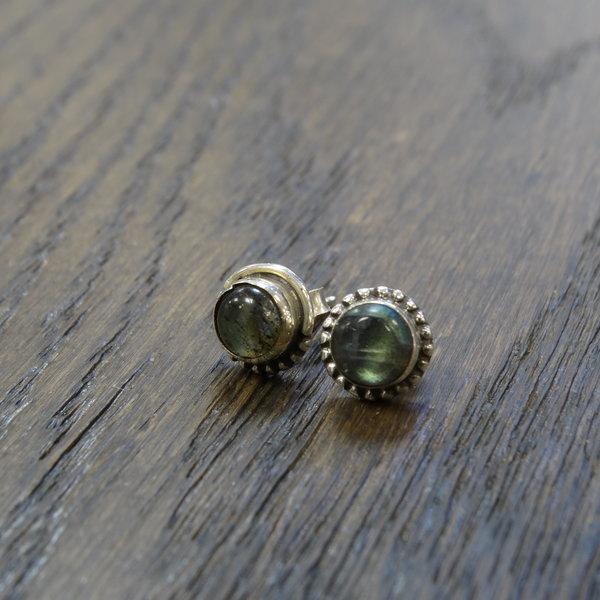Labradoriet oorstekers - 925 sterling zilver